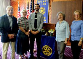 Left to right:  Peter Cris, President of the Pawling Chamber of Commerce, Susan Stone, representing Pawling Public Radio, Casey Conlin, Director of the Pawling Library, Terry Ariano from the Pawling Resource Center, and Ann Godesky, President of Pawling Rotary.